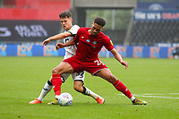 18th July 2020; Liberty Stadium, Swansea, Glamorgan, Wales; English Football League Championship, Swansea City versus Bristol City; Liam Cullen of Swansea City and Zak Vyner of Bristol City jostle for possession