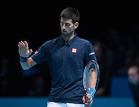 Novak Djokovic (SBR) apologises during the ATP World Tour Final against Andy Murray (GBR), ATP World Tour Finals 2016, Day Eight, O2 Arena, Peninsula Square, London, United Kingdom, 20th Nov 2016