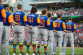 New York Mets players in their custom nickname jerseys as they listen to the National Anthem against the Washington Nationals at Nationals Park in Washington, D.C. on Friday, August 25 2017.  From left to right: relief pitcher Paul Sewald (51), relief pitcher Kevin McGowan (61), pitcher Erik Goeddel (62), relief pitcher Chasen Bradford (46), relief pitcher Josh Smoker (49), and shortstop Matt Reynolds (15).<br /> Credit: Ron Sachs / CNP<br /> (RESTRICTION: NO New York or New Jersey Newspapers or newspapers within a 75 mile radius of New York City)