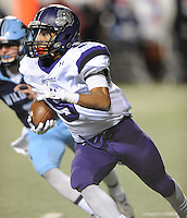 NWA Democrat-Gazette/ANDY SHUPE<br /> Terrance Rock of Fayetteville carries the ball through the Har-Ber defense Saturday, Dec. 5, 2015, during the first half of the Class 7A state championship game at War Memorial Stadium in Little Rock. Visit nwadg.com/photos to see more photographs from the game.