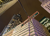 AVAILABLE FROM JEFF AS A FINE ART PRINT.<br /> <br /> AVAILABLE FROM JEFF FOR COMMERCIAL/EDITORIAL LICENSING.<br /> <br /> Upward View of Street Sign and Office Buildings on Broadway in Midtown Manhattan, New York City, New York State, USA