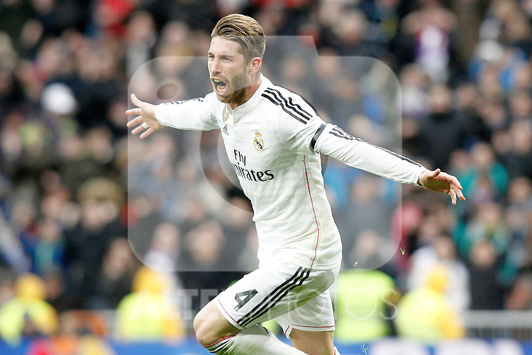 Real Madrid's Sergio Ramos celebrates goal during La Liga match.January 31,2015. (ALTERPHOTOS/Acero)