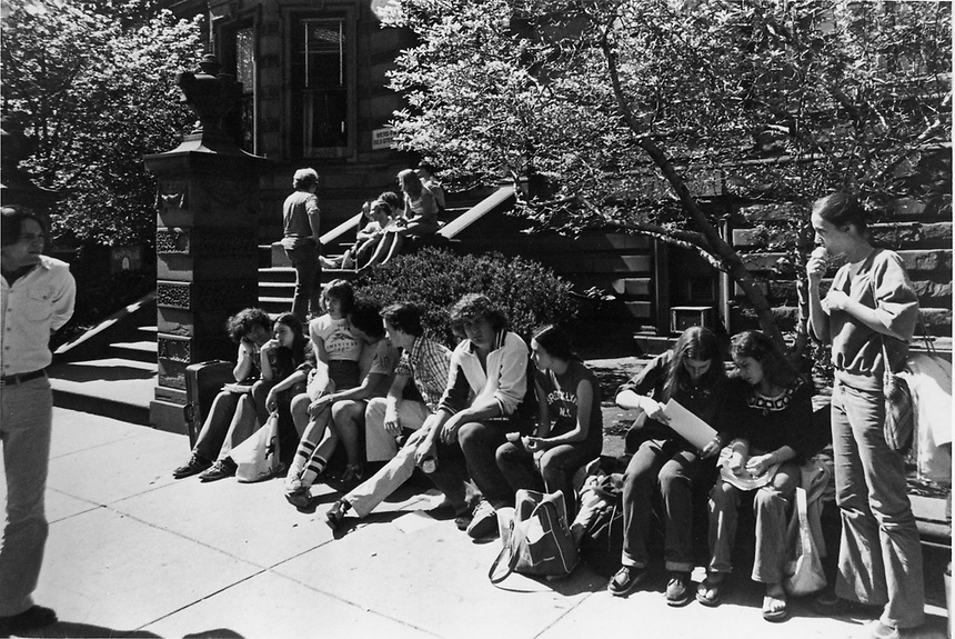 students at the Wall, 130 Beacon Street, ca. 1983, campus