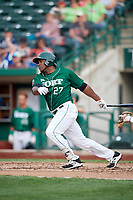 Fort Wayne TinCaps first baseman Carlos Belen (27) hits a single and drives in a run during a game against the West Michigan Whitecaps on May 17, 2018 at Parkview Field in Fort Wayne, Indiana.  Fort Wayne defeated West Michigan 7-3.  (Mike Janes/Four Seam Images)