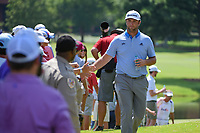 Jon Rahm (ESP) high fives fans on his way to the tee on 10 during round 2 of the WGC FedEx St. Jude Invitational, TPC Southwind, Memphis, Tennessee, USA. 7/26/2019.<br /> Picture Ken Murray / Golffile.ie<br /> <br /> All photo usage must carry mandatory copyright credit (© Golffile | Ken Murray)