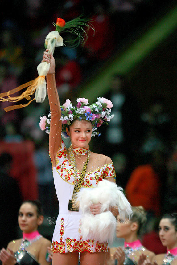 "Anna Bessonova of Ukraine celebrates event final win at 2008 World Cup Kiev, ""Deriugina Cup"" in Kiev, Ukraine on March 23, 2008."