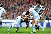 Vereniki Goneva of Leicester Tigers is double-tackled. European Rugby Champions Cup semi final, between Leicester Tigers and Racing 92 on April 24, 2016 at The City Ground in Nottingham, England. Photo by: Patrick Khachfe / JMP