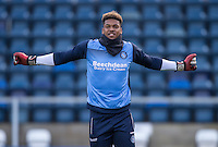 Goalkeeper Jamal Blackman of Wycombe Wanderers warms up during the Sky Bet League 2 match between Wycombe Wanderers and Hartlepool United at Adams Park, High Wycombe, England on 26 November 2016. Photo by Andy Rowland / PRiME Media Images.