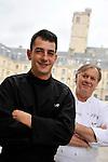 """20081001 - France - Bourgogne - Dijon<br /> JEAN-PIERRE BILLOUX ET SON FILS ALEXIS (LA RELEVE) A LA TETE DU RESTAURANT """"LE PRE AUX CLERCS"""", PLACE DE LA LIBERATION A DIJON.<br /> Ref : BILLOUX_001.jpg - © Philippe Noisette."""