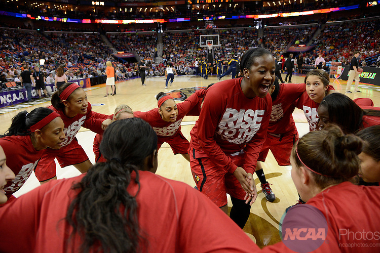 07 APR 2013:  The University of Louisville takes on the University of California during the Division I Women's Basketball Championship in New Orleans, LA.  Jamie Schwaberow/NCAA Photos