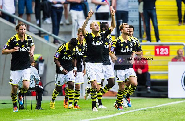 Solna 2014-07-12 Fotboll Allsvenskan AIK - Kalmar FF :  <br /> AIK:s Alexander Milosevic firar sitt 2-0 m&aring;l i den andra halvleken<br /> (Foto: Kenta J&ouml;nsson) Nyckelord:  AIK Gnaget Friends Arena Kalmar KFF jubel gl&auml;dje lycka glad happy