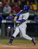 NWA Democrat-Gazette/BEN GOFF @NWABENGOFF<br /> Josh Smith, LSU shortstop, hits a RBI single in the 7th inning vs Arkansas Thursday, May 9, 2019, at Baum-Walker Stadium in Fayetteville.