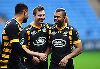 Kurtley Beale of Wasps is congratulated by team-mates on his Man of the Match debut performance. European Rugby Champions Cup match, between Wasps and Connacht Rugby on December 11, 2016 at the Ricoh Arena in Coventry, England. Photo by: Patrick Khachfe / JMP