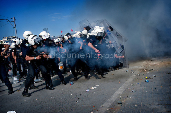 copyright : Magali Corouge /Documentography<br />Taksim square, Istanbul, Turkey, the 11th of June 2013. <br /><br />Police started to evacuate Taksim square, on the early morning of the 11th of June, after more than a week of occupation.