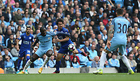 Leicester City's Shinji Okazaki is tackled by Manchester City's Yaya Toure <br /> <br /> Photographer Stephen White/CameraSport<br /> <br /> The Premier League - Manchester City v Leicester City - Saturday 13th May 2017 - Etihad Stadium - Manchester<br /> <br /> World Copyright &copy; 2017 CameraSport. All rights reserved. 43 Linden Ave. Countesthorpe. Leicester. England. LE8 5PG - Tel: +44 (0) 116 277 4147 - admin@camerasport.com - www.camerasport.com