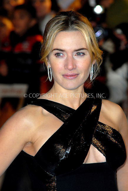 "Kate Winslet at the UK film premiere of ""Revolutionary Road"" held at the Odeon Leicester Square in London - 18 January 2009..FAMOUS PICTURES AND FEATURES AGENCY 13 HARWOOD ROAD LONDON SW6 4QP UNITED KINGDOM tel +44 (0) 20 7731 9333 fax +44 (0) 20 7731 9330 e-mail info@famous.uk.com www.famous.uk.com.FAM25017"