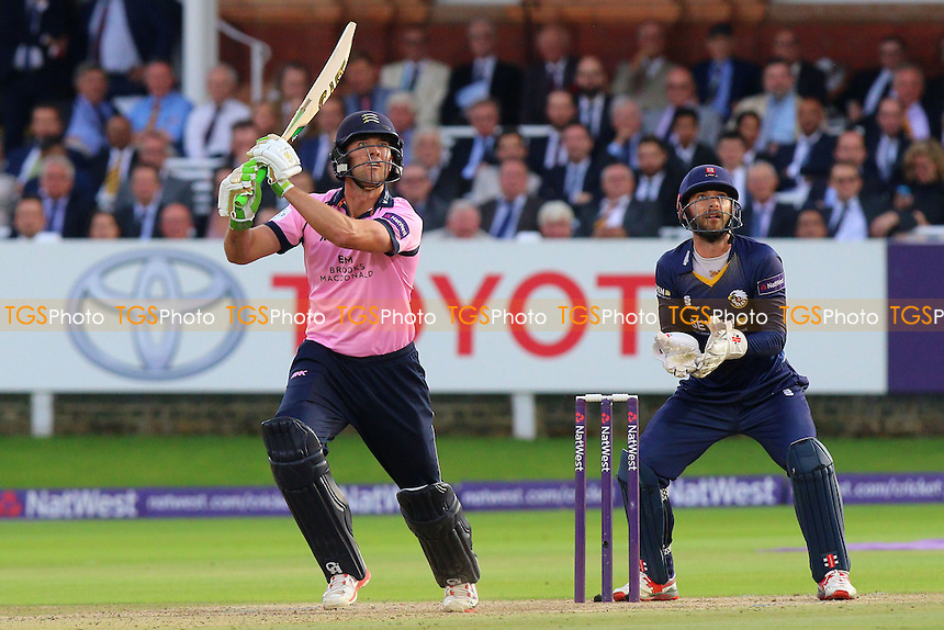 James Franklin hits out for Middlesex as James Foster looks on from behind the stumps during Middlesex vs Essex Eagles, NatWest T20 Blast Cricket at Lord's Cricket Ground on 28th July 2016
