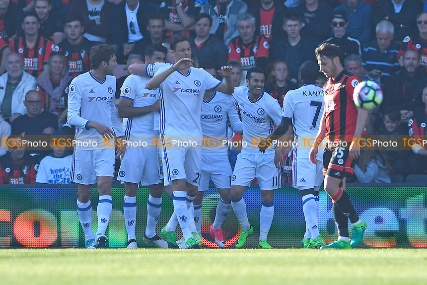 Diego Costa of Chelsea is congratulated after Adam Smith of AFC Bournemouth right scored an own goal off his shot during AFC Bournemouth vs Chelsea, Premier League Football at the Vitality Stadium on 8th April 2017