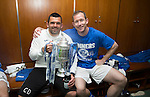 St Johnstone v Dundee United....17.05.14   William Hill Scottish Cup Final<br /> Callum Davidson and Frazer Wright in the dressing room with the Scottish Cup<br /> Picture by Graeme Hart.<br /> Copyright Perthshire Picture Agency<br /> Tel: 01738 623350  Mobile: 07990 594431