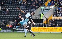 Anthony Stewart of Wycombe Wanderers wins the ball in the air during the Sky Bet League 2 match between Notts County and Wycombe Wanderers at Meadow Lane, Nottingham, England on 28 March 2016. Photo by Andy Rowland.