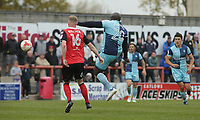 Adebayo Akinfenwa of Wycombe Wanderers shoots at goal during the Sky Bet League 2 match between Morecambe and Wycombe Wanderers at the Globe Arena, Morecambe, England on 29 April 2017. Photo by Stephen Gaunt / PRiME Media Images.