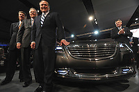 The Chrysler team team with CEO Robert Nardelli (front) is seen after the Chrysler presentation at the Detroit Auto Show in Detroit, Michigan on January 11, 2009.