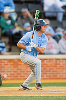 Chaz Frank (2) of the North Carolina Tar Heels follows through on his swing against the Wake Forest Demon Deacons at Wake Forest Baseball Park on March 9, 2013 in Winston-Salem, North Carolina.  The Tar Heels defeated the Demon Deacons 20-6.  (Brian Westerholt/Four Seam Images)
