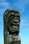 Hawaii: Big Island.  Heiau at Kailua Ahuena..Religious figure.  Photo #: hikona103..Photo copyright Lee Foster, www.fostertravel.com, 510/549-2202, lee@fostertravel.com