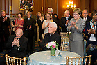 May 22, 2013; Members of Congress and guests appluad University President Emeritus Rev. Theodore M. Hesburgh, C.S.C., after his speech during a special reception celebrating his 96th birthday, hosted by House Democratic leader Nancy Pelosi in the Rayburn Room of the U.S. Capitol. The reception was also held to a honor his 70th anniversary as a priest of the Congregation of Holy Cross. Photo by Barbara Johnston/University of Notre Dame