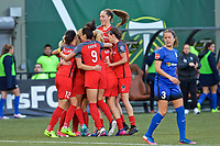 Portland, OR - Saturday May 06, 2017: Portland Thorns FC  during a regular season National Women's Soccer League (NWSL) match between the Portland Thorns FC and the Seattle Reign FC at Providence Park.