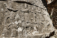 End relief panel of the 13th century BC Hittite religious rock carvings of Yazılıkaya Hittite rock sanctuary, chamber A,  Hattusa, Bogazale, Turkey.