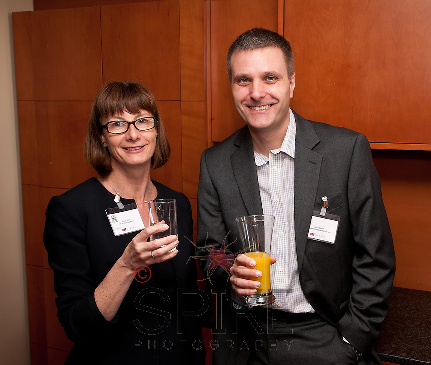 Janine Bone of Intu Shopping Centres is pictured with Dave Blount of North Midland Construction
