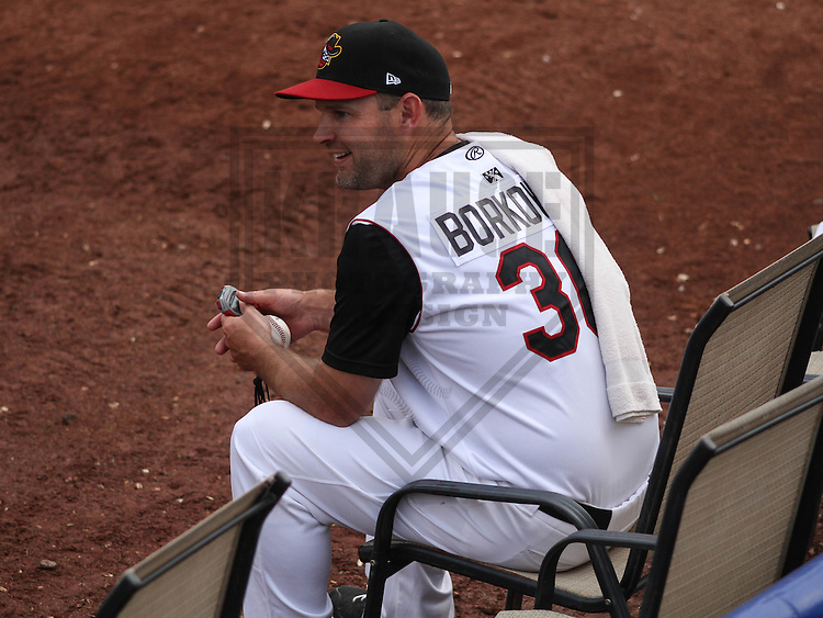 DAVENPORT - May 2015: Quad Cities River Bandits pitching coach Dave Borkowski (36) during a Midwest League game against the Wisconsin Timber Rattlers on May 8th, 2015 at Modern Woodmen Park in Davenport, Iowa.  Quad Cities defeated Wisconsin 11-6.  (Brad Krause/Krause Sports Photography)