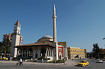 Tirana/Tirane-Albania - August 01, 2004---Seen from Skenderberg/Skanderberg Square: Clock tower (built in 1830), Minaret and the Mosque of Ethem Mey (built in 1793), in the center of Tirana, capital city of Albania; culture-religion---Photo: © HorstWagner.eu