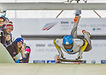 9 January 2016: Rhys Thornbury, competing for New Zealand, pushes off for his first and only run start of the BMW IBSF World Cup Skeleton race at the Olympic Sports Track in Lake Placid, New York, USA. Thornbury did not make a second run. Mandatory Credit: Ed Wolfstein Photo *** RAW (NEF) Image File Available ***