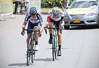 LA CEJA - COLOMBIA, 13-02-2019: Oscar Sevilla (Team Medellín) , Simon Pellaud (IAM Excelsior), durante la segunda etapa del Tour Colombia 2.1 2019 con un recorrido de 150.5 Km, que se corrió entre La Ceja Canadá - Carmen de Viboral - Rionegro - Canadá - La Ceja. / Oscar Sevilla (Team Medellin) , Simon Pellaud (IAM Excelsior), during the second stage of 150.5 km of Tour Colombia 2.1 2019 that ran through La Ceja Canada - Carmen de Viboral - Rionegro - Canada - La Ceja.  Photo: VizzorImage / Fedeciclismo Prensa