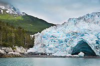 Ice cave at the face of the advancing Meares tidewater glacier, Unakwik Inlet, Prince William Sound, southcentral, Alaska.