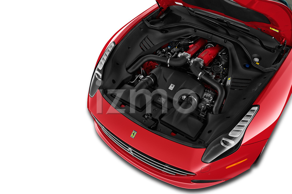 Car Stock 2017 Ferrari California-T 2 Door Convertible Engine  high angle detail view