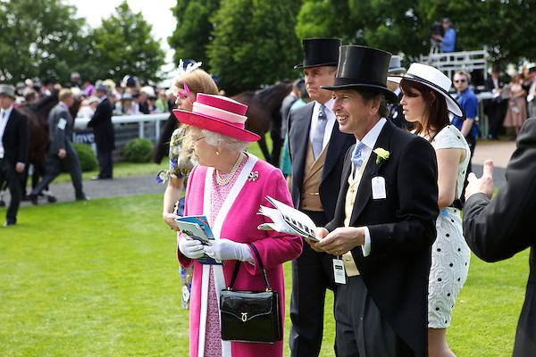 Queen Elizabeth II, Prince Andrew, John Warren and Princess Eugenie