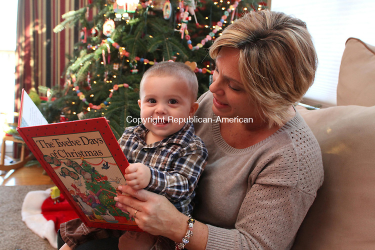 NAUGATUCK, CT-19 December 2013-121913LW01 - Lauri Wood reads to her 10-month-old son, James Wood Jr. in their Naugatuck home.<br />