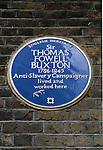 Blue plaque Sir Thomas Fowell Buxton  Anti-Slavery Campaigner. Brick Lane London E1