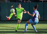 Seattle, WA - Saturday July 23, 2016: Nahomi Kawasumi, Kristen Edmonds during a regular season National Women's Soccer League (NWSL) match between the Seattle Reign FC and the Orlando Pride at Memorial Stadium.
