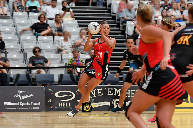 Tactix' Erikana Pedersen in action during the Preseason Tournament - Tactix v Magic at Ngā  Purapura, Otaki, New Zealand on Saturday 9 February  2019. <br /> Photo by Masanori Udagawa. <br /> www.photowellington.photoshelter.com