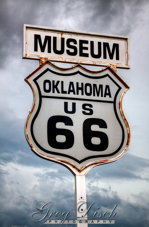 Route 66 sign in Clinton Oklahoma.