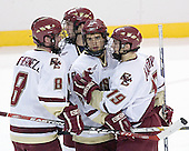 Brett Motherwell 8, Benn Ferriero 21, Dan Bertram 22 and Brock Bradford 19 celebrate. The Eagles of Boston College defeated the Falcons of Bowling Green State University 5-1 on Saturday, October 21, 2006, at Kelley Rink of Conte Forum in Chestnut Hill, Massachusetts.<br />