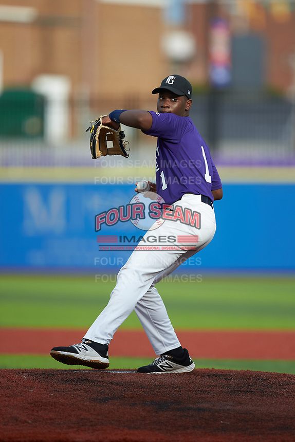 Brandon Watts (1) of Salem High School in Conyers, GA during the Atlantic Coast Prospect Showcase hosted by Perfect Game at Truist Point on August 22, 2020 in High Point, NC. (Brian Westerholt/Four Seam Images)