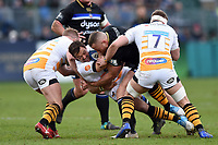 Rob Miller of Wasps is tackled in possession. Heineken Champions Cup match, between Bath Rugby and Wasps on January 12, 2019 at the Recreation Ground in Bath, England. Photo by: Patrick Khachfe / Onside Images
