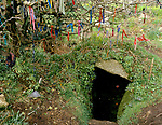 Sancreed Holy Well Cornwall, a votive offering  clooties tied to over hanging branches of a tree above the wells entrance 1998. 1990s UK