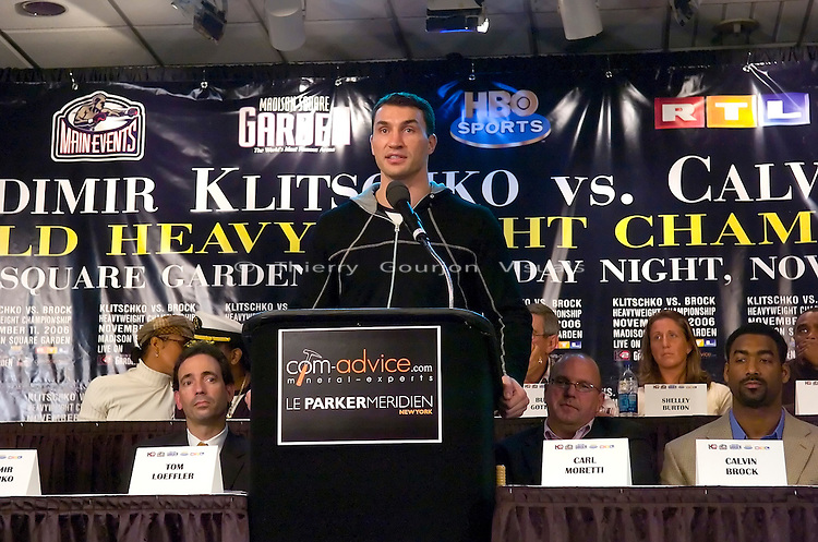 Wladimir Klitschko  at the press conference for his IBF/IBO Heavyweight Championship fight against Calvin Brock at Madison Square Garden, in N.Y.C. on 11.08.06..The fight will take place at MSG on 11.11.06<br />