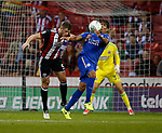Jack O'Connell of Sheffield Utd and Leonardo Ulloa of Leicester City during the Carabao Cup, second round match at Bramall Lane, Sheffield. Picture date 22nd August 2017. Picture credit should read: Simon Bellis/Sportimage